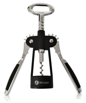 Wing Corkscrew Wine Opener by HiCoup - All-in-one Wine Corkscrew and Bottle Opener With Bonus Wine Stopper in a Deluxe Presentation Box
