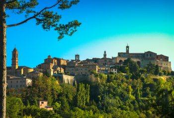 Montepulciano italian medieval village and pine tree. Siena, Tuscany Italy Europe, where Montepulciano wine is made.