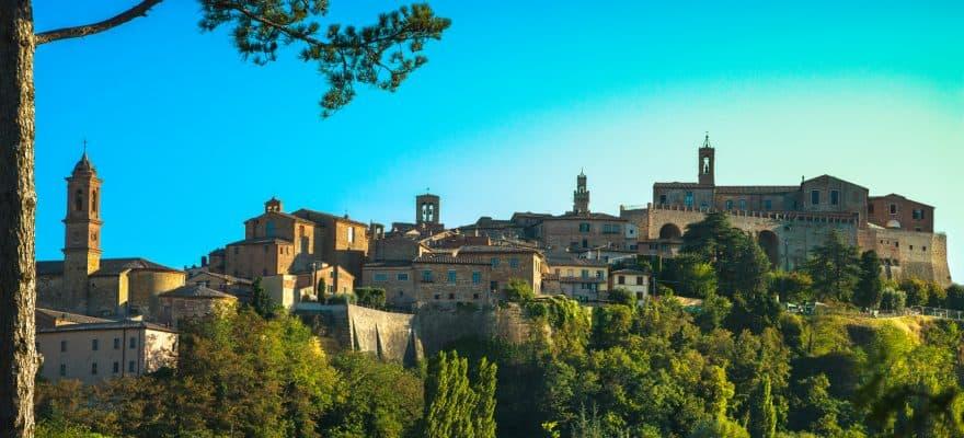Montepulciano italian medieval village and pine tree. Siena, Tuscany Italy Europe, where Montepulciano wine is made.