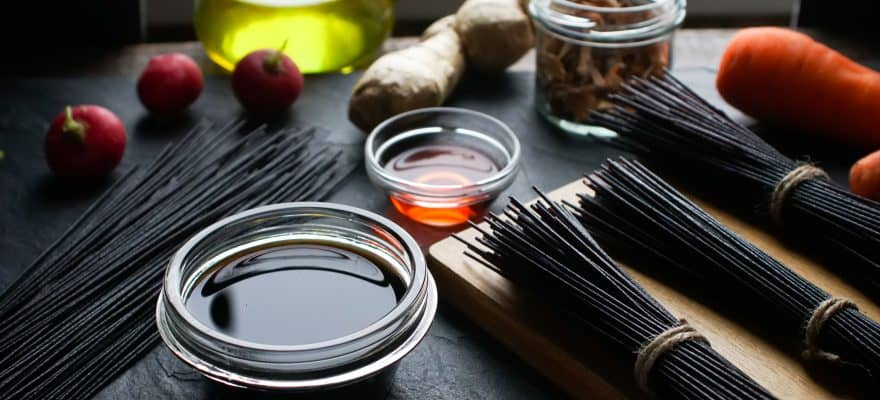 Black rice vinegar vermicelli and vegetables on the table. Asian cuisine